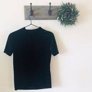 Zara Black Velvet Short Sleeve Mock Neck Top S